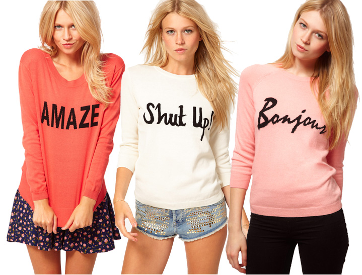 And have been noticing these sweaters with words or sayings on a few  bloggers (love this look on Atlantic Pacific) and think they are too cute!