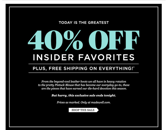 Madewell 40% off - ends tonight!