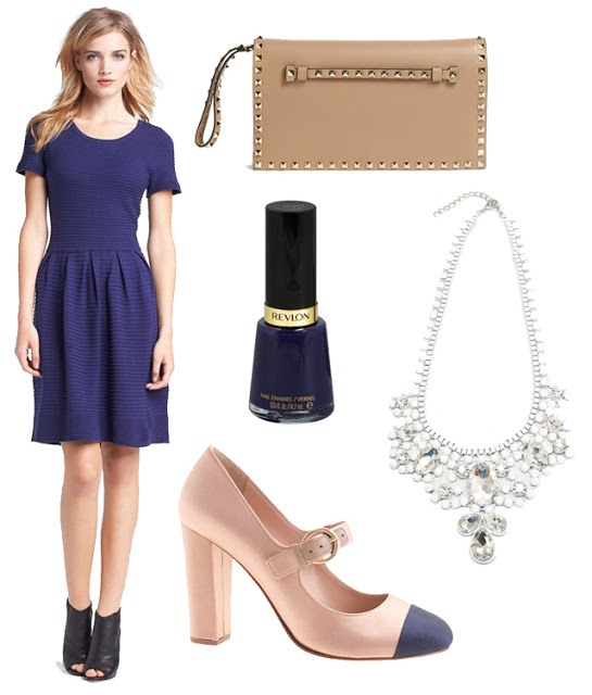 Color nail polish with navy dress