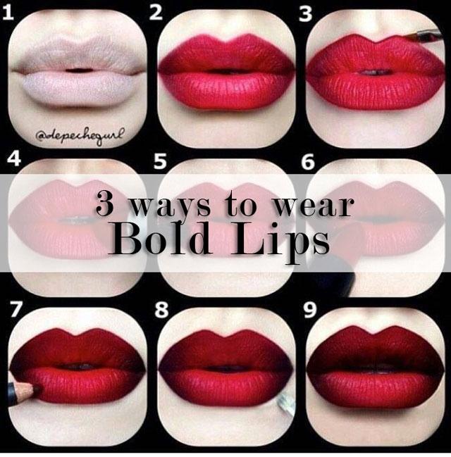 3 ways to wear bold lips