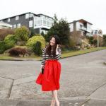Lookbook Red Midi Skirt