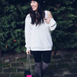Winter Style: Off the shoulder top and Pom Pom Hat
