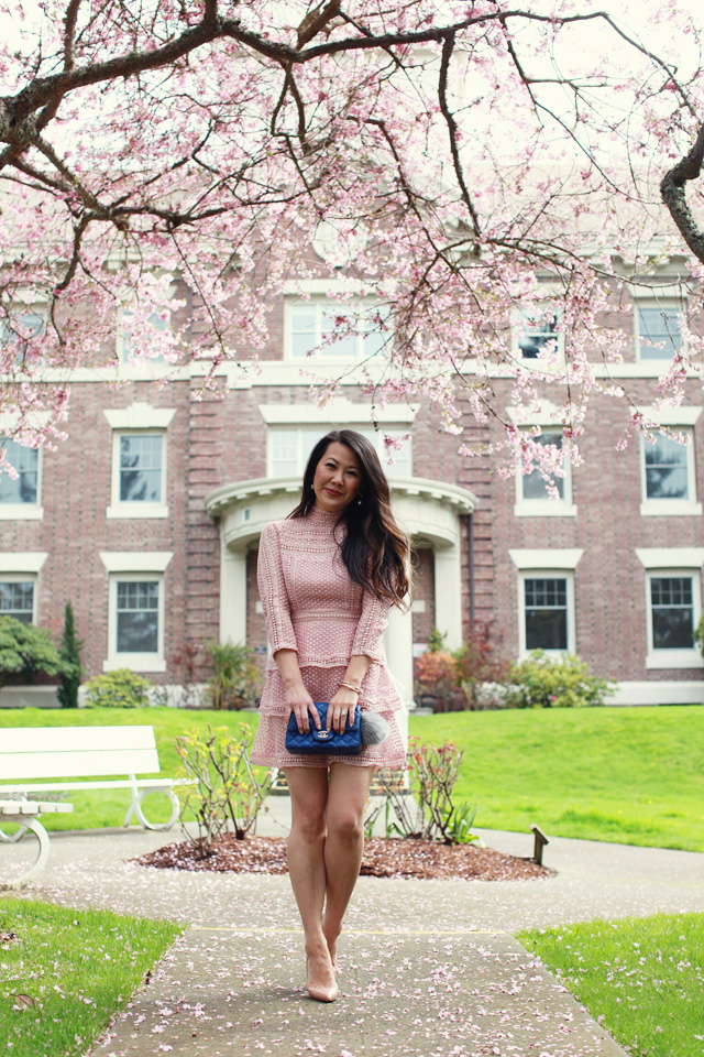 Pink Crochet Lace Dress & Mini Chanel Bag - www.iamstyle-ish.com