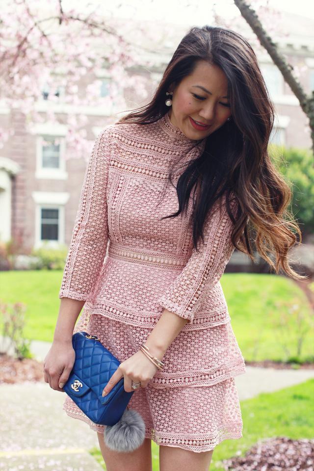 Pink Crochet Lace Dress and Mini Chanel Bag - www.iamstyle-ish.com