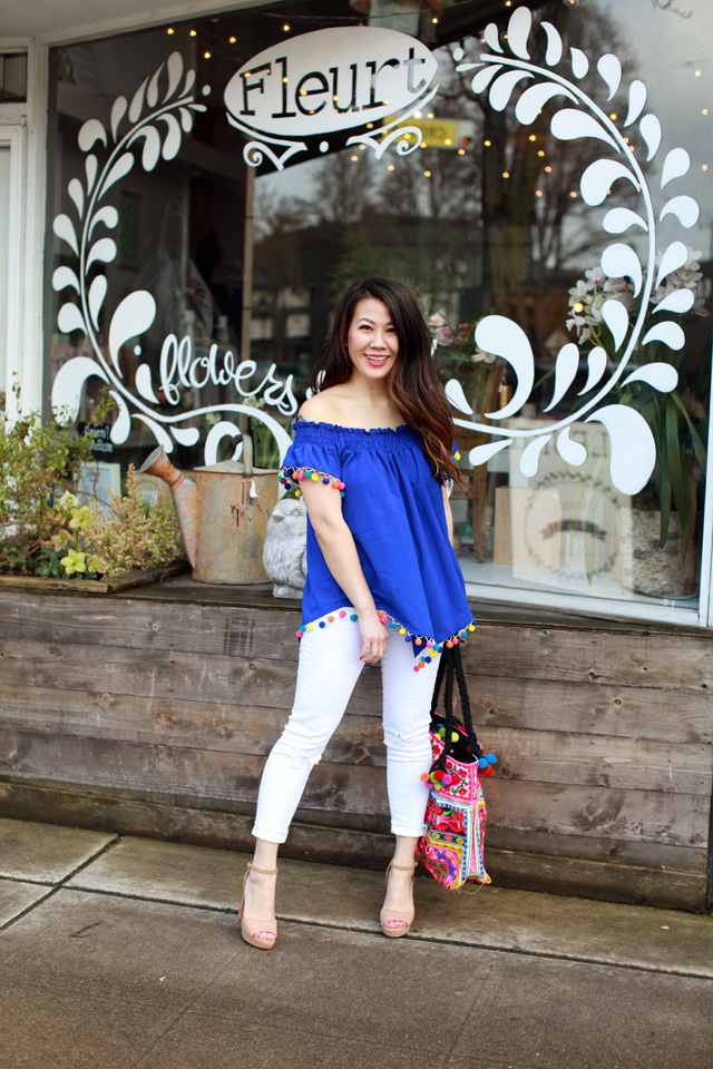 Pom Pom off the shoulder top and white jeans