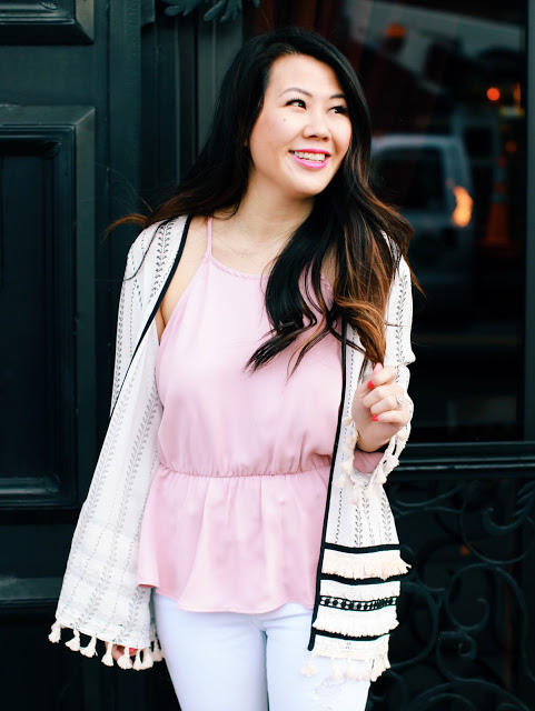 Summer Outfit Ideas: Kimono Cardigan and Cold Shoulder Top