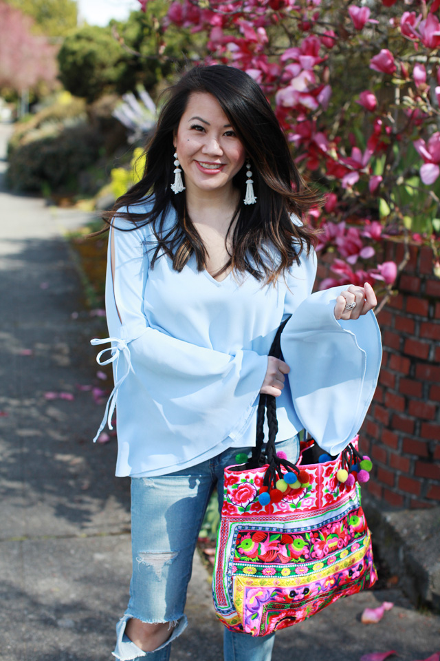Spring outfit ideas - Bell Sleeves Tie top + Tassel earrings + Embroidered Tote Bag