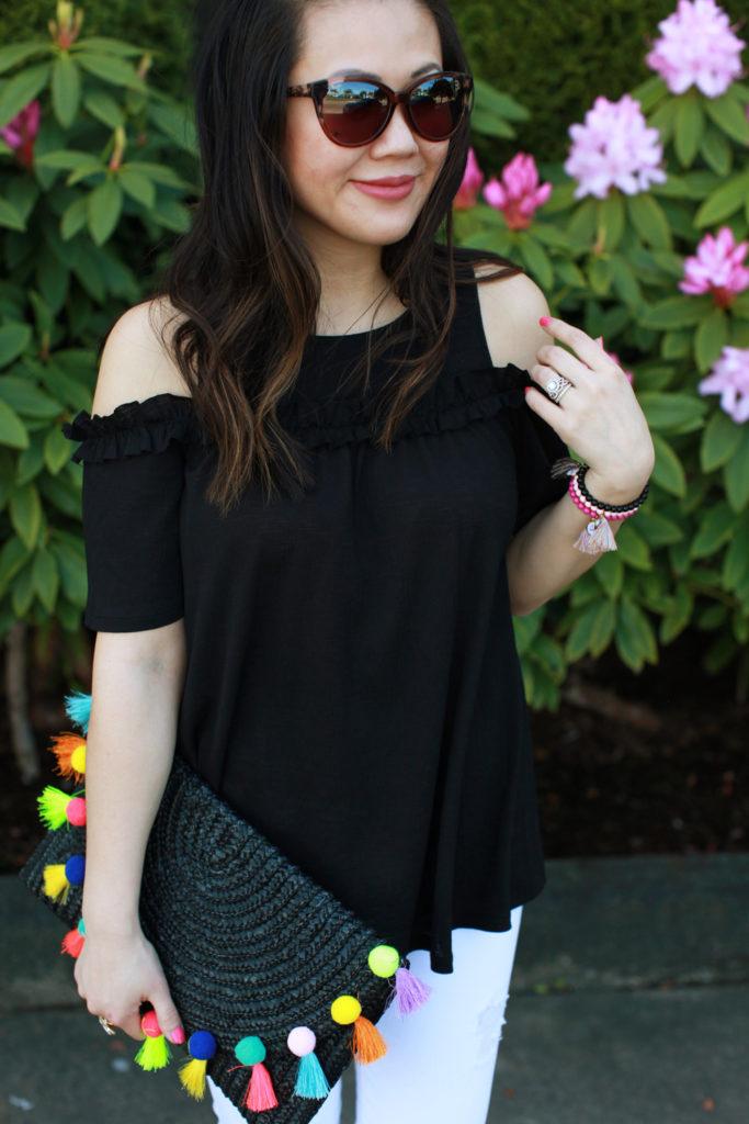 Spring basics and trends - cold shoulder top and pom pom bag