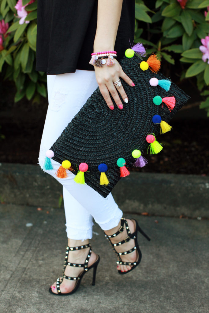 The perfect spring accessories - pom pom clutch and studded shoes