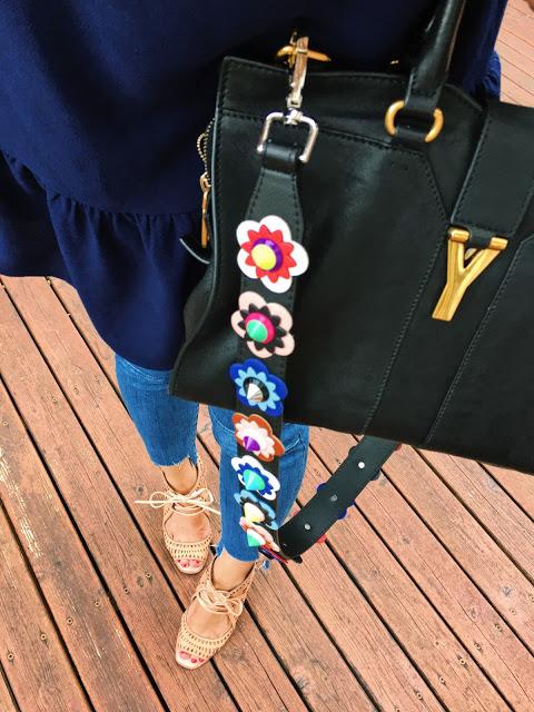 Floral bag strap and saint laurent bag