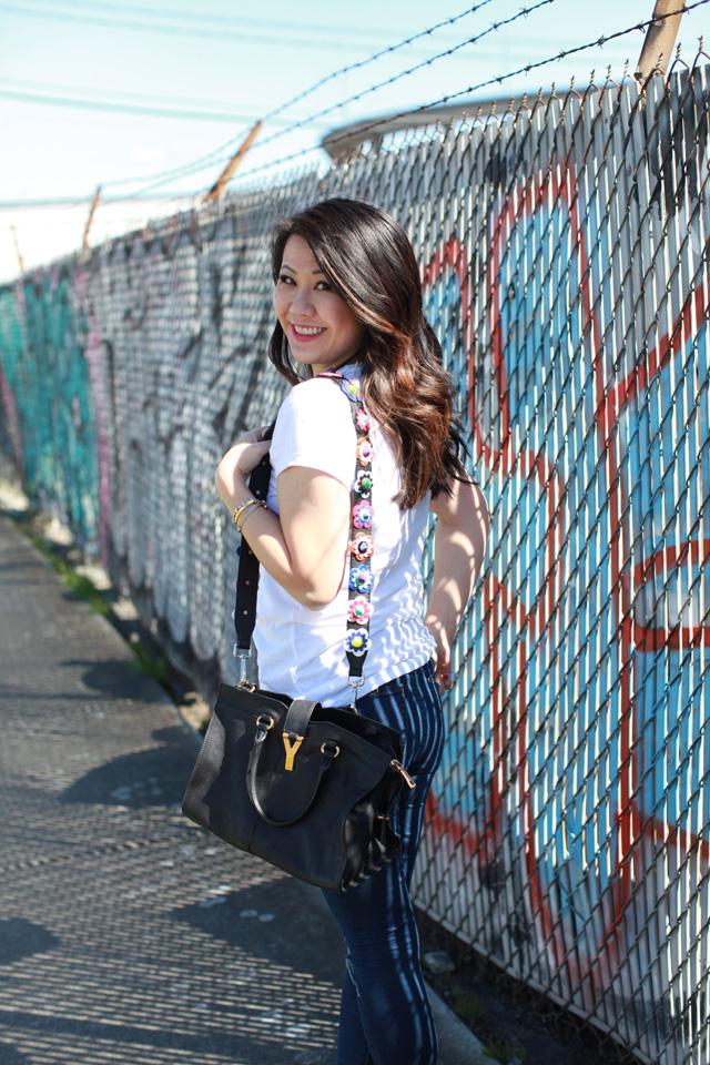 floral bag strap
