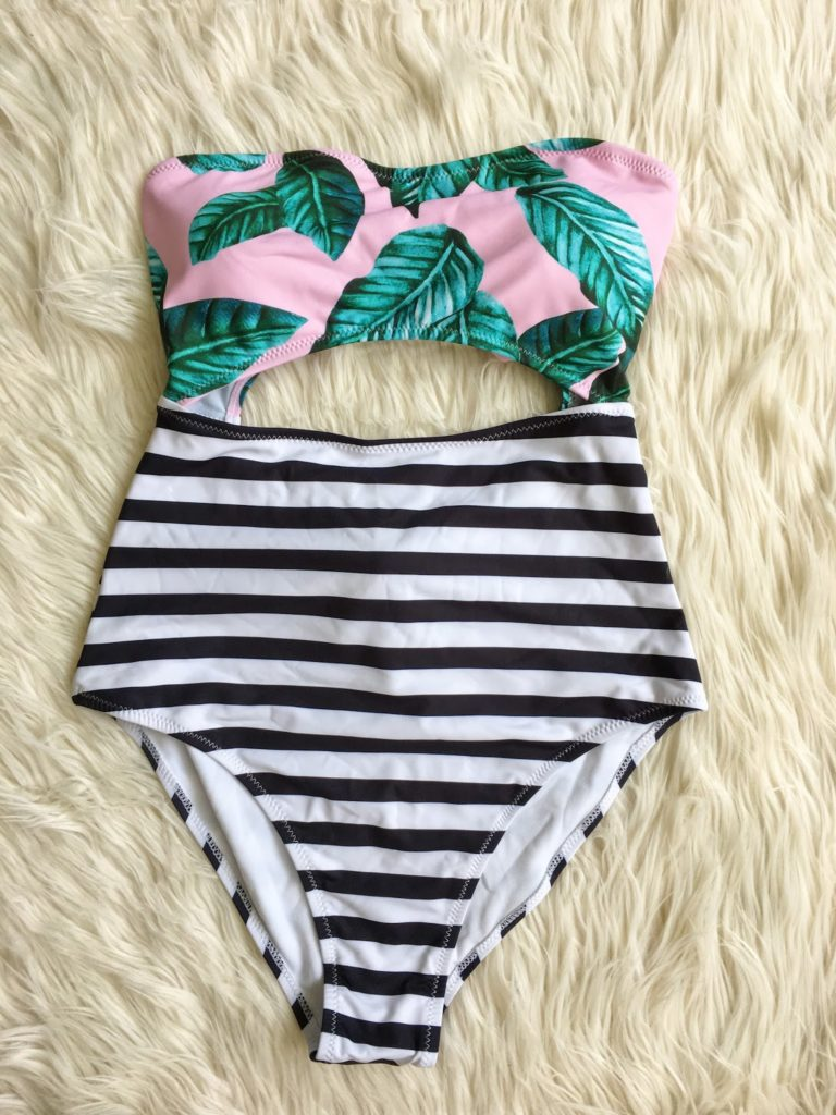 palm leaf and stripes swimsuit - cute suit to hide your belly pooch!