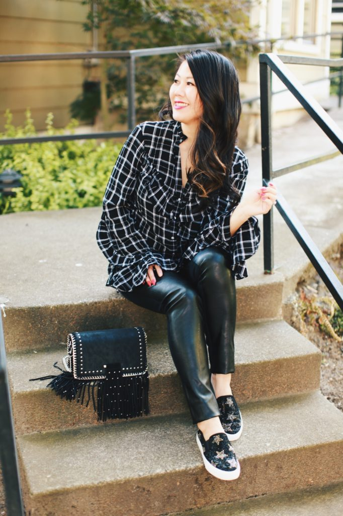 Anna Sui x Macy's Plaid top and leather leggings