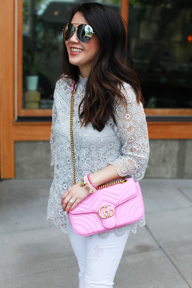 Gucci Bag and Lace Top