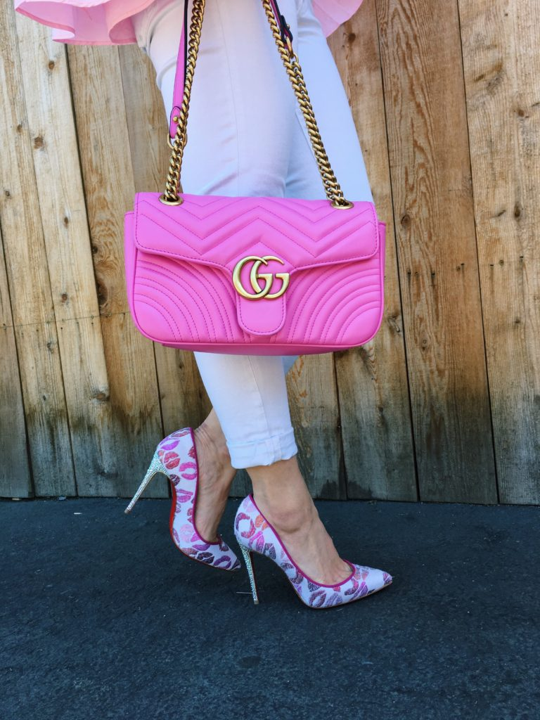 Pink Gucci Bag and Louboutin Crystal Heels