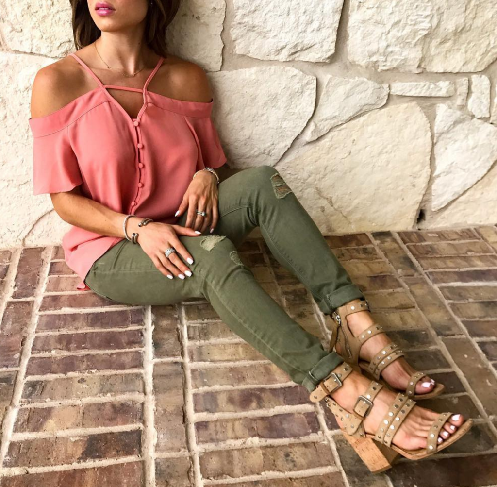 Studded Sandals, Olive green jeans, cold shoulder top