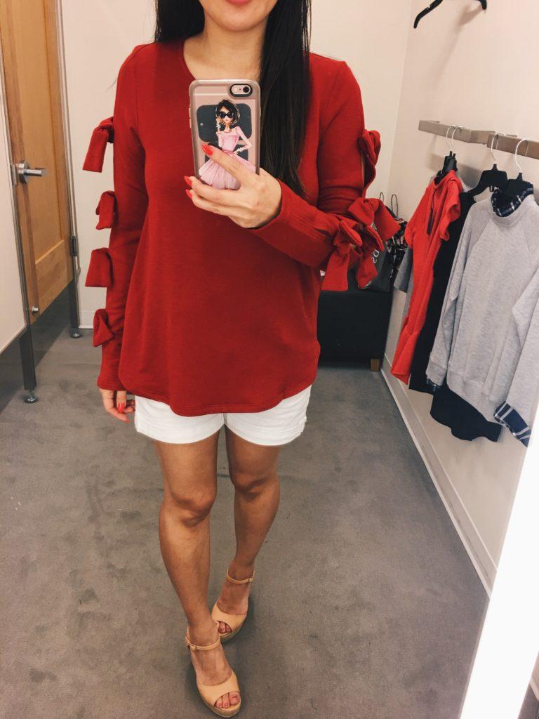 Pleione tie sleeve sweatshirt top
