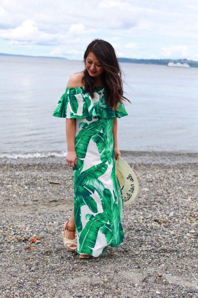 palm leaf maxi dress for petites