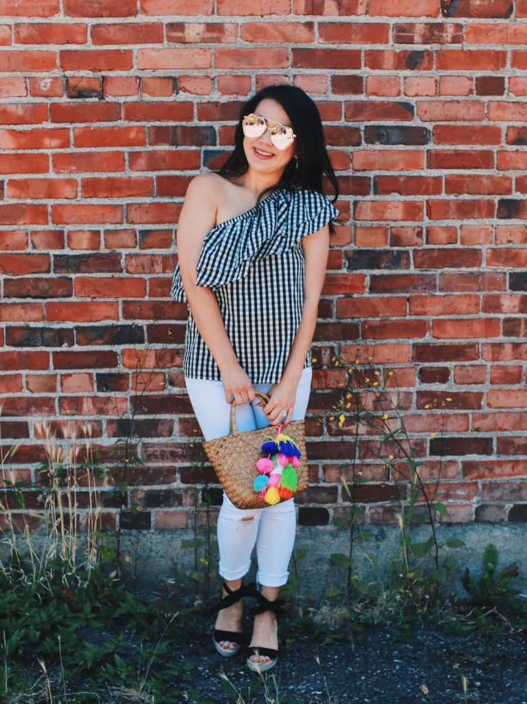 Ruffle gingham top and white jeans