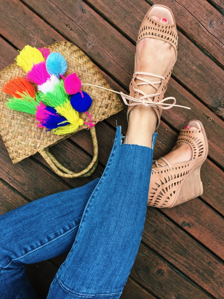 wedges and step hem jeans