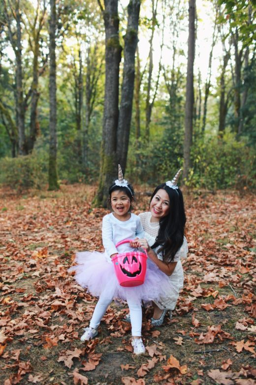 Mommy and Daughter DIY Unicorn Halloween Costume