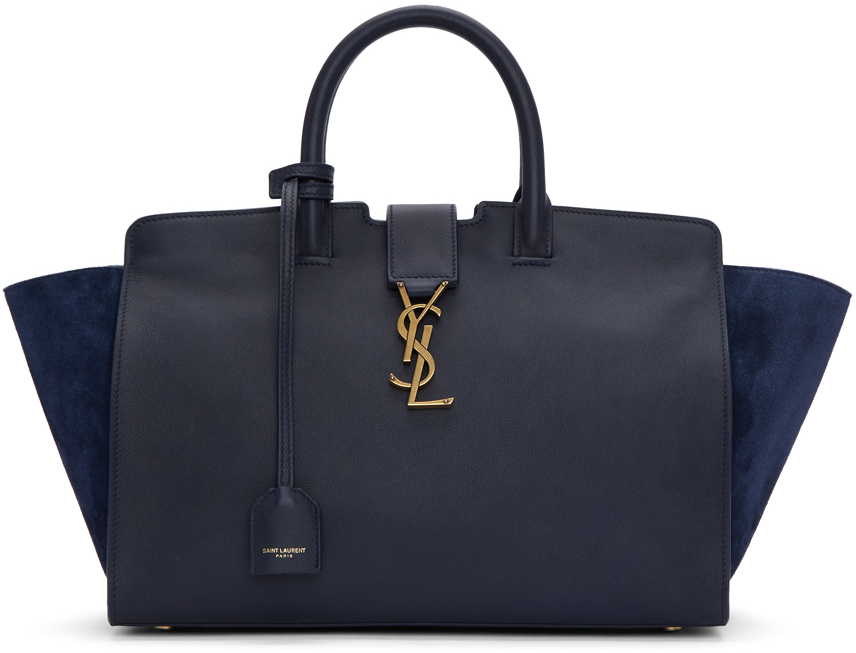 ON SALE! SAINT LAURENT: NAVY SMALL DOWNTOWN CABAS TOTE