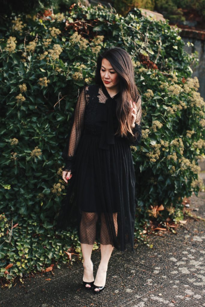Chicwish Black Lace Dress and Louboutin Heels