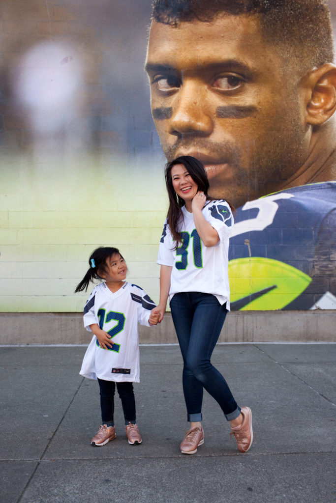 Mommy and me football style
