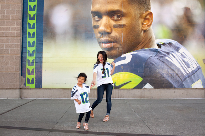 Mommy and Daughter Seattle Seahawks style