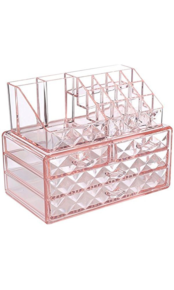 pink makeup and jewelry organizer