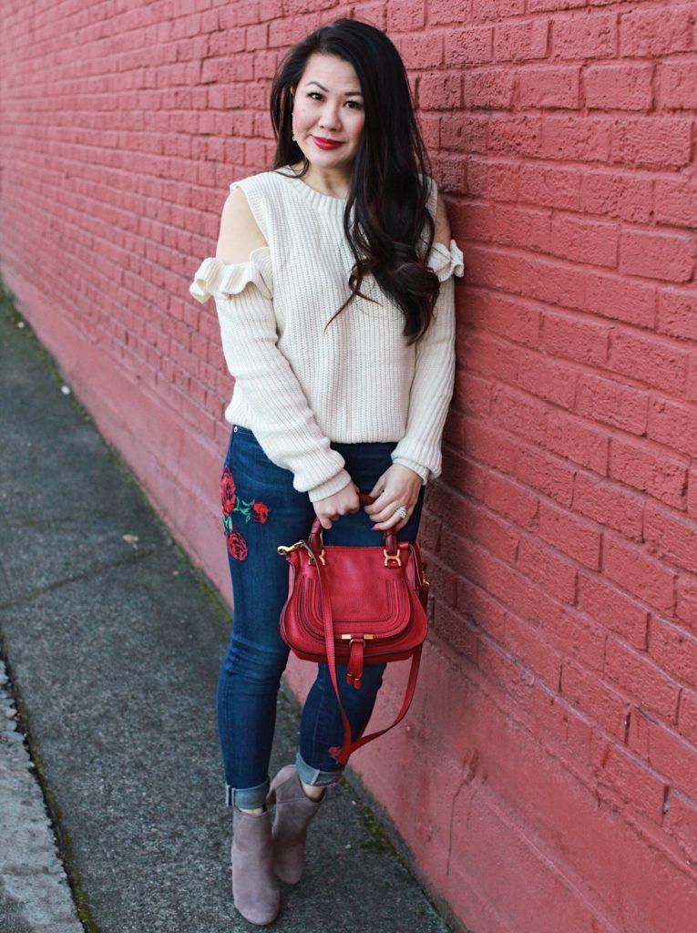 Ruffle sweater and chloe marcie bag