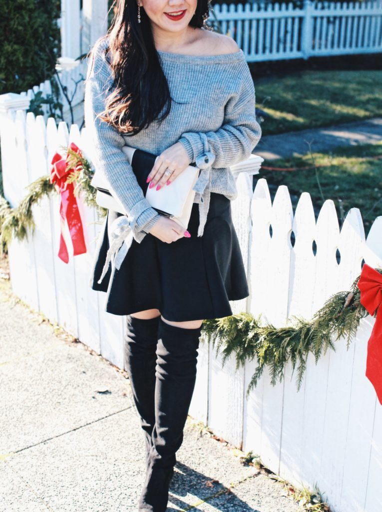 Winter outfit- sweater and over the knee boots