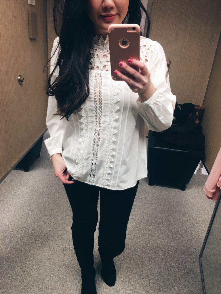 Nordstrom Spring tops shopping & dressing room review