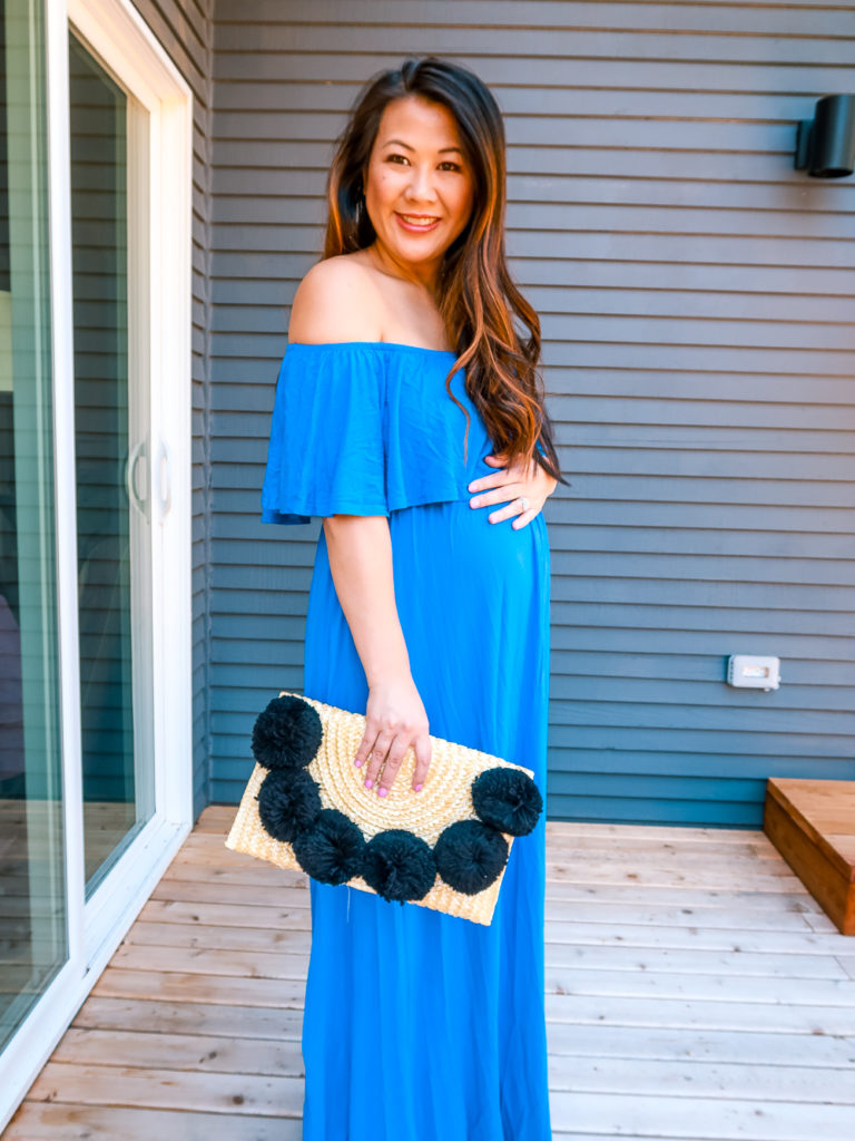 1489565f16daa Chic Third Trimester Outfit Ideas. This maxi dress is $30 and comes in a  quite a few colors and prints! It's also a #1 best seller on Amazon which  is a huge ...