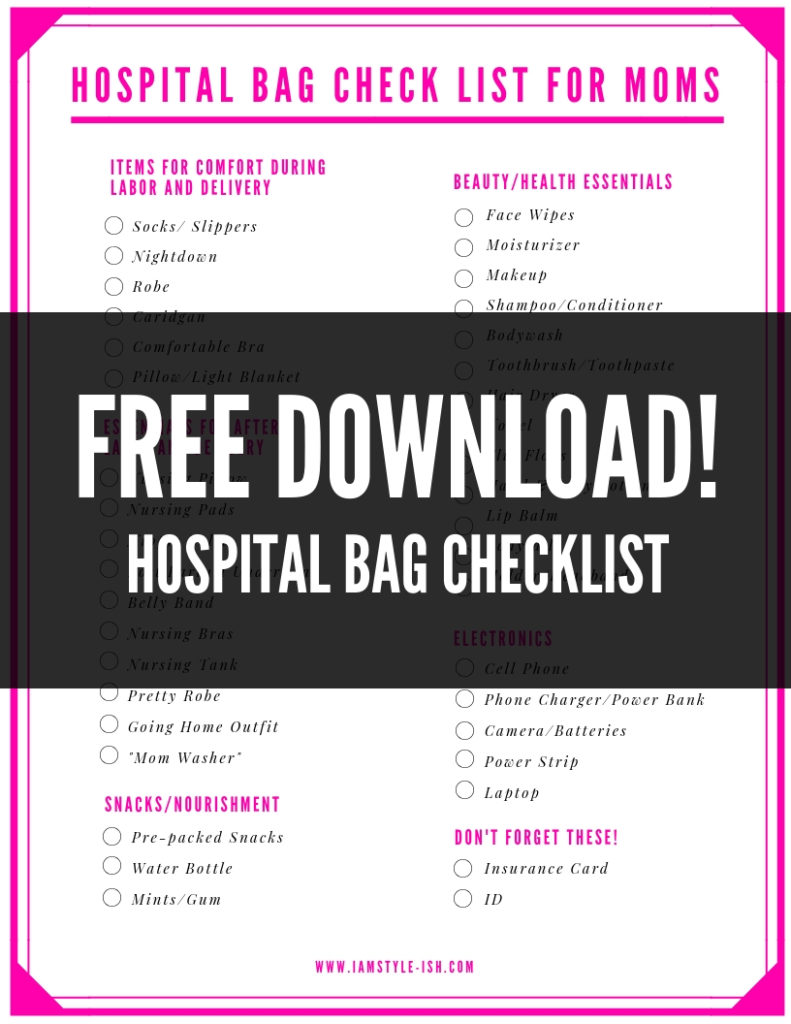 hospital bag packing guide checklist for mom