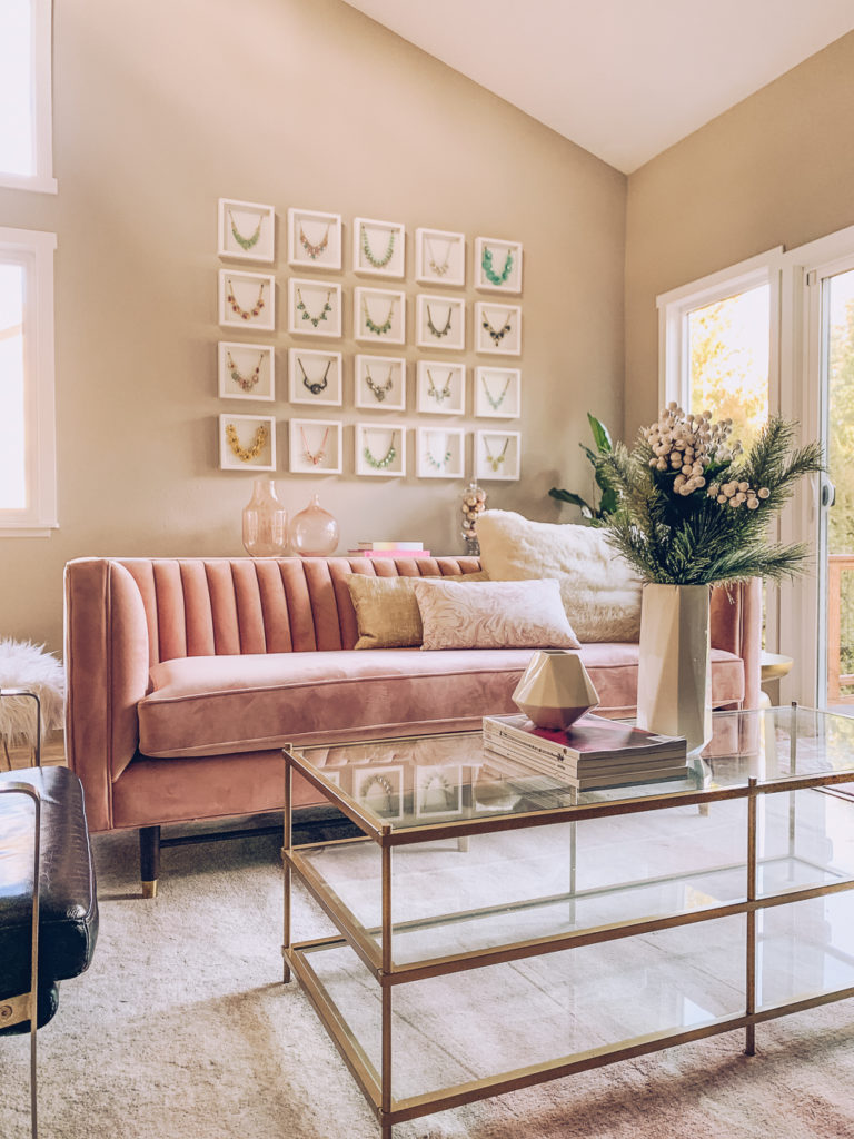 . Chic and Modern Blush Pink Living Room